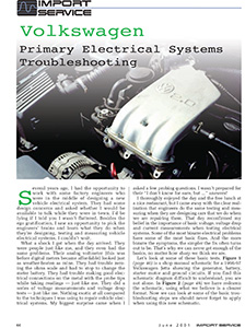Volkswagen: Primary Electrical System Troubleshooting