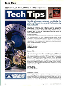 Tech Tips July 2001